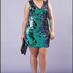 Forever 21 Plus Black Velvet & Sequin Dress XL
